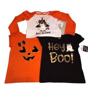 Set of 3 Girls Halloween Shirts Pumpkin Unicorn